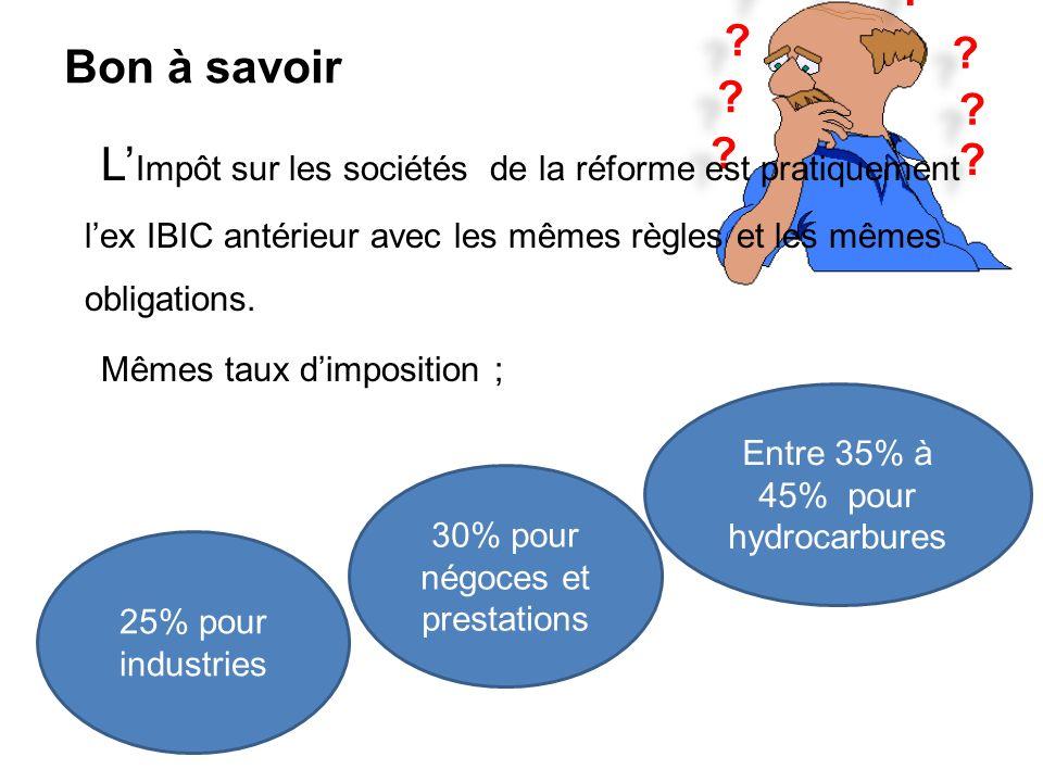 Bon à savoir. L'Impôt sur les sociétés de la réforme est pratiquement l'ex IBIC antérieur avec les mêmes règles et les mêmes obligations.