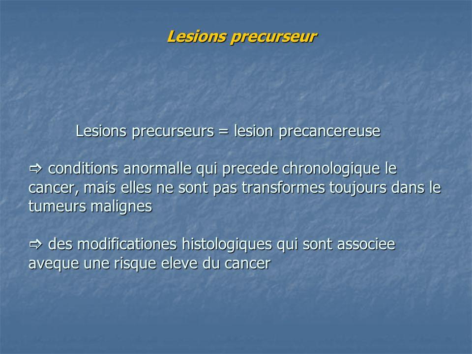 Lesions precurseur Lesions precurseurs = lesion precancereuse  conditions anormalle qui precede chronologique le cancer, mais elles ne sont pas transformes toujours dans le tumeurs malignes  des modificationes histologiques qui sont associee aveque une risque eleve du cancer