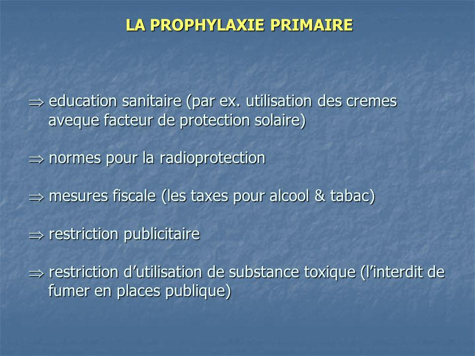 LA PROPHYLAXIE PRIMAIRE  education sanitaire (par ex