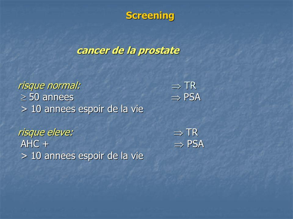 Screening cancer de la prostate risque normal:  TR  50 annees  PSA > 10 annees espoir de la vie risque eleve:  TR AHC +  PSA > 10 annees espoir de la vie