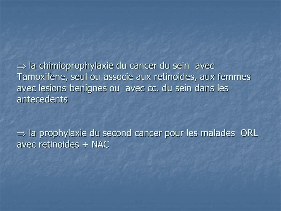  la chimioprophylaxie du cancer du sein avec Tamoxifene, seul ou associe aux retinoides, aux femmes avec lesions benignes ou avec cc.
