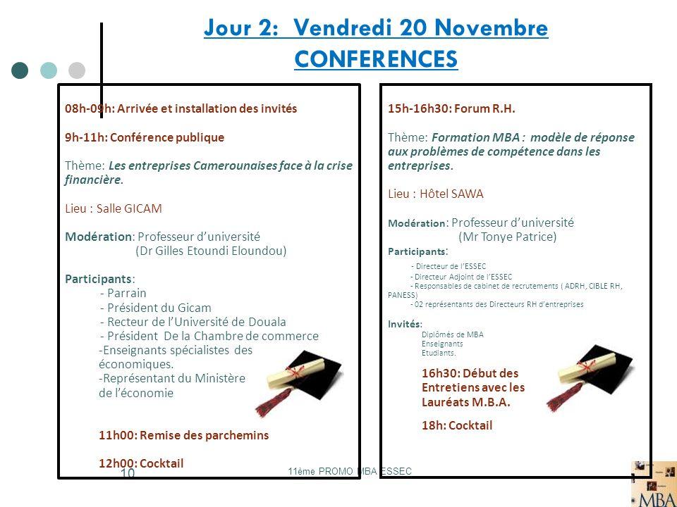 Jour 2: Vendredi 20 Novembre CONFERENCES