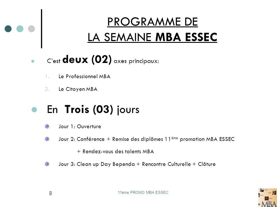 PROGRAMME DE LA SEMAINE MBA ESSEC