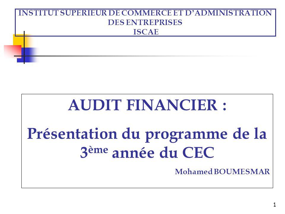 AUDIT FINANCIER : Présentation du programme de la 3ème année du CEC