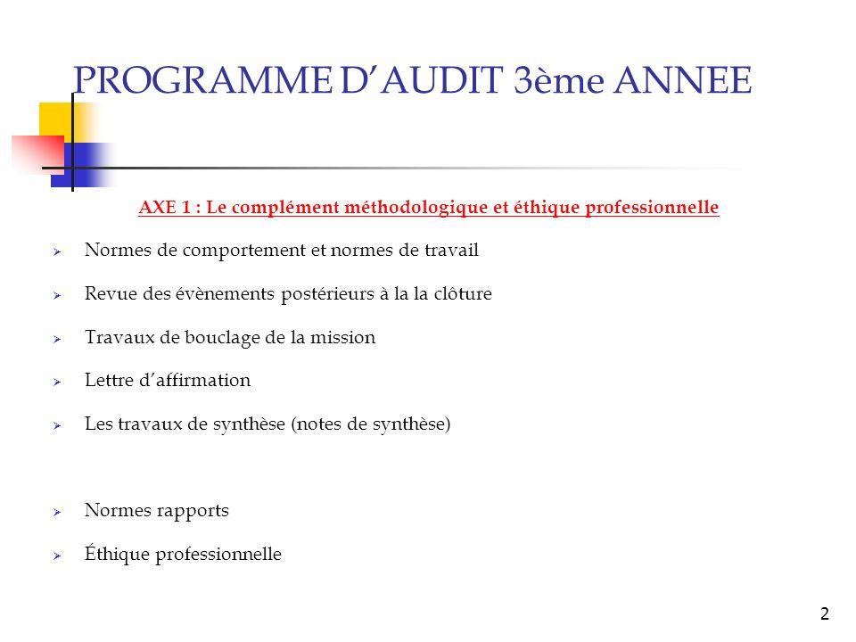 AXE 1 : Le complément méthodologique et éthique professionnelle