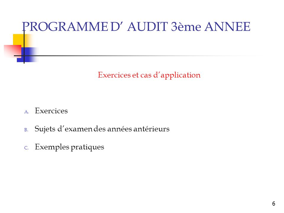 Exercices et cas d'application