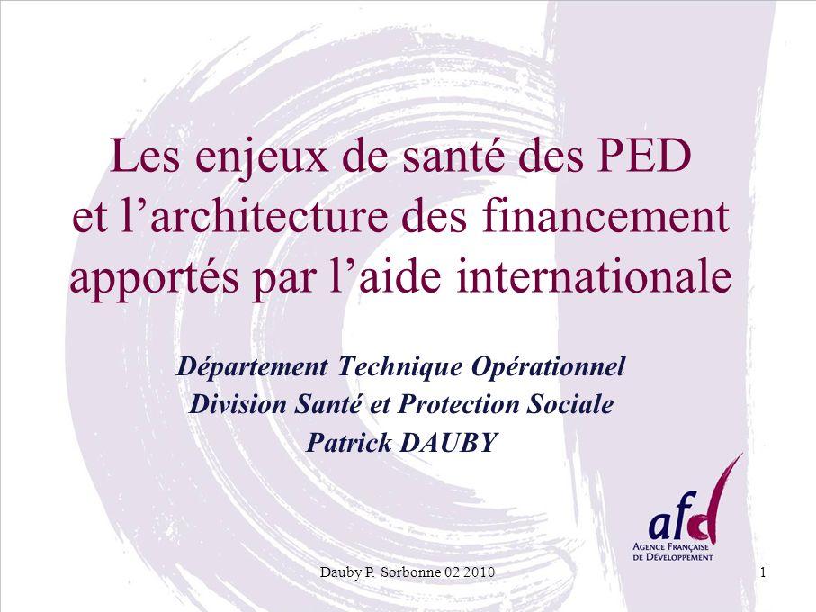 Les enjeux de santé des PED et l'architecture des financement apportés par l'aide internationale