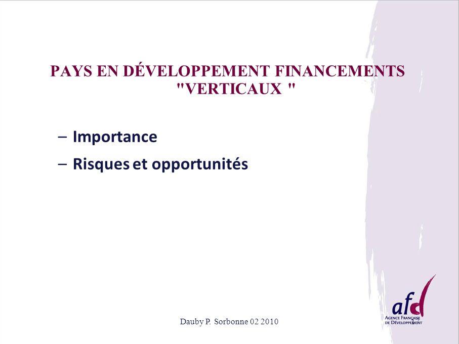 PAYS EN DÉVELOPPEMENT FINANCEMENTS VERTICAUX