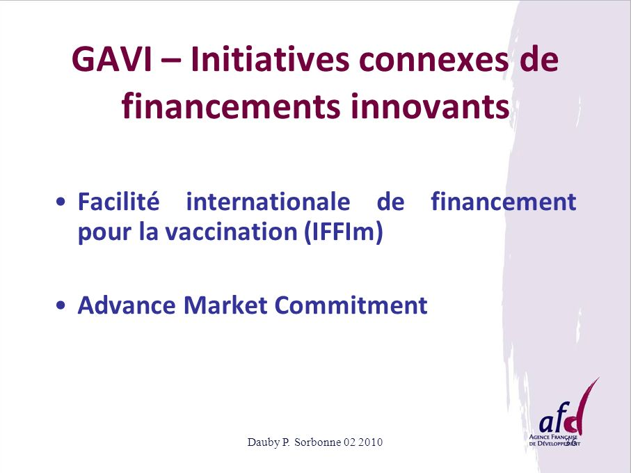 GAVI – Initiatives connexes de financements innovants