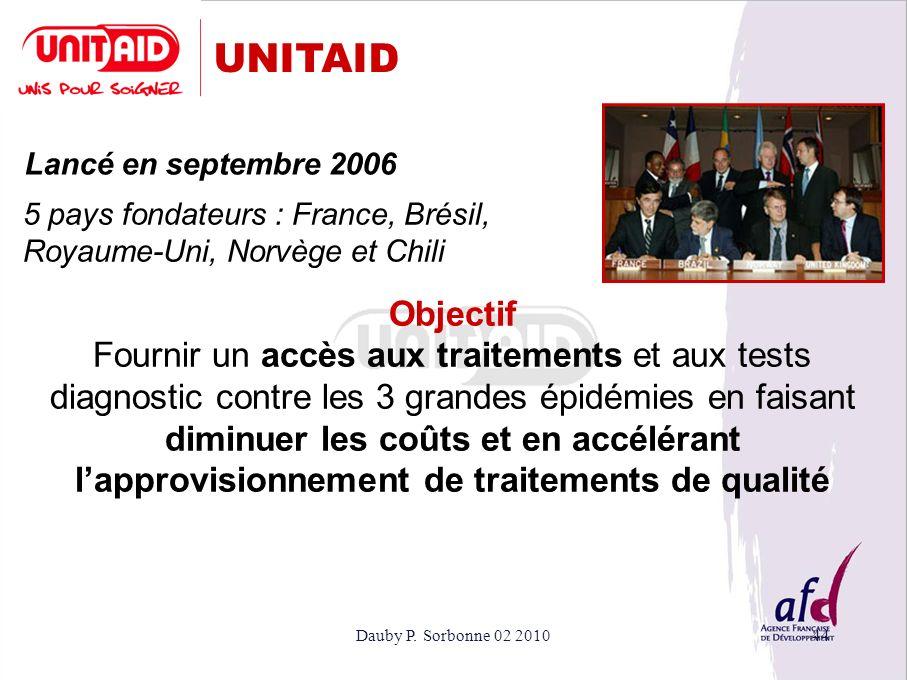 UNITAID Lancé en septembre 2006. 5 pays fondateurs : France, Brésil, Royaume-Uni, Norvège et Chili.