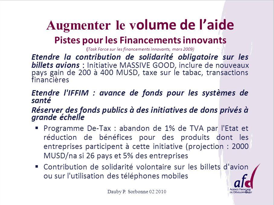 Augmenter le volume de l'aide Pistes pour les Financements innovants (Task Force sur les financements innovants, mars 2009)