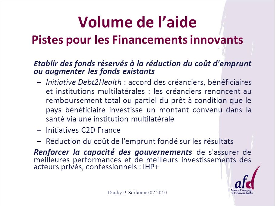 Volume de l'aide Pistes pour les Financements innovants