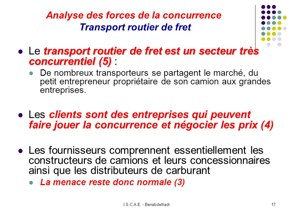 Analyse des forces de la concurrence Transport routier de fret