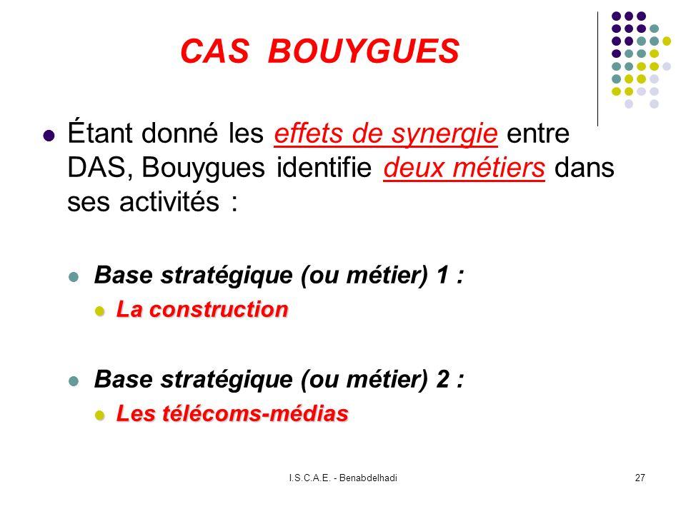 CAS BOUYGUES Étant donné les effets de synergie entre DAS, Bouygues identifie deux métiers dans ses activités :