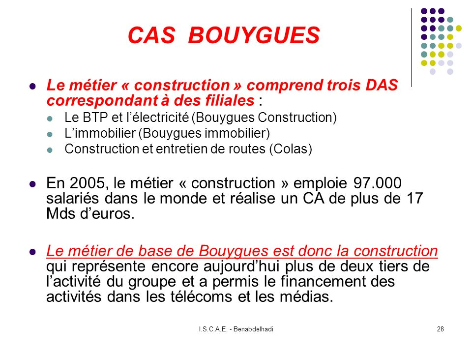CAS BOUYGUESLe métier « construction » comprend trois DAS correspondant à des filiales : Le BTP et l'électricité (Bouygues Construction)