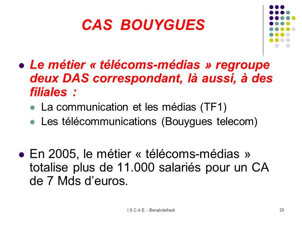 CAS BOUYGUESLe métier « télécoms-médias » regroupe deux DAS correspondant, là aussi, à des filiales :