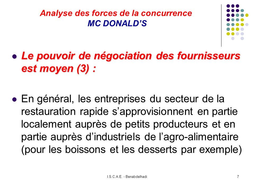 Analyse des forces de la concurrence MC DONALD'S