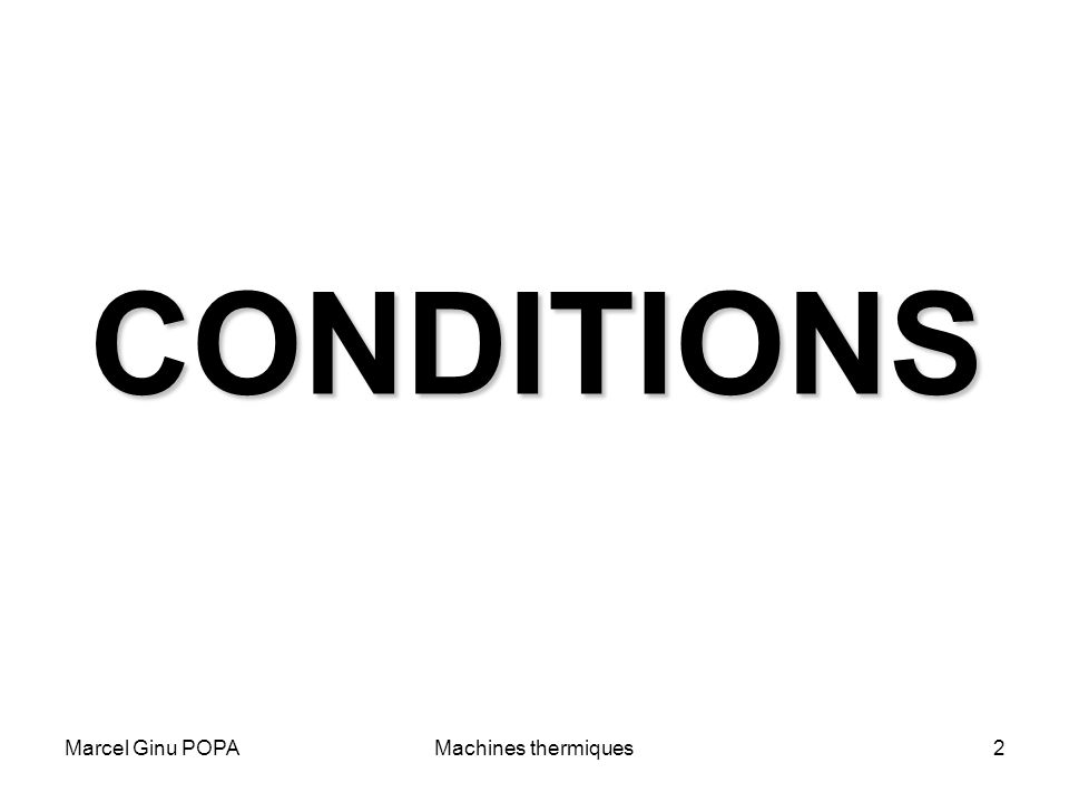 CONDITIONS Marcel Ginu POPA Machines thermiques