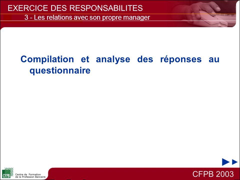 Compilation et analyse des réponses au questionnaire