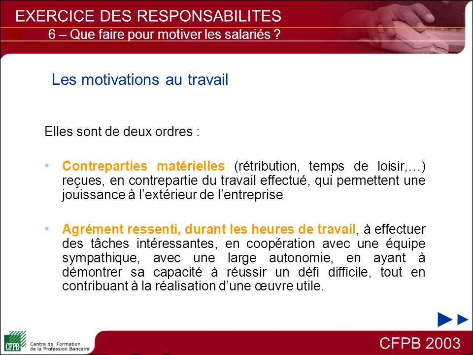 Les motivations au travail