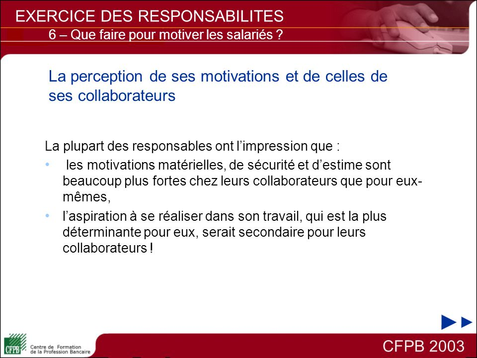 La perception de ses motivations et de celles de ses collaborateurs