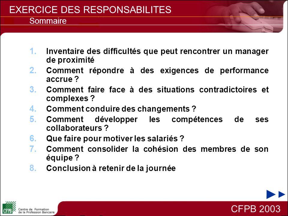 EXERCICE DES RESPONSABILITES