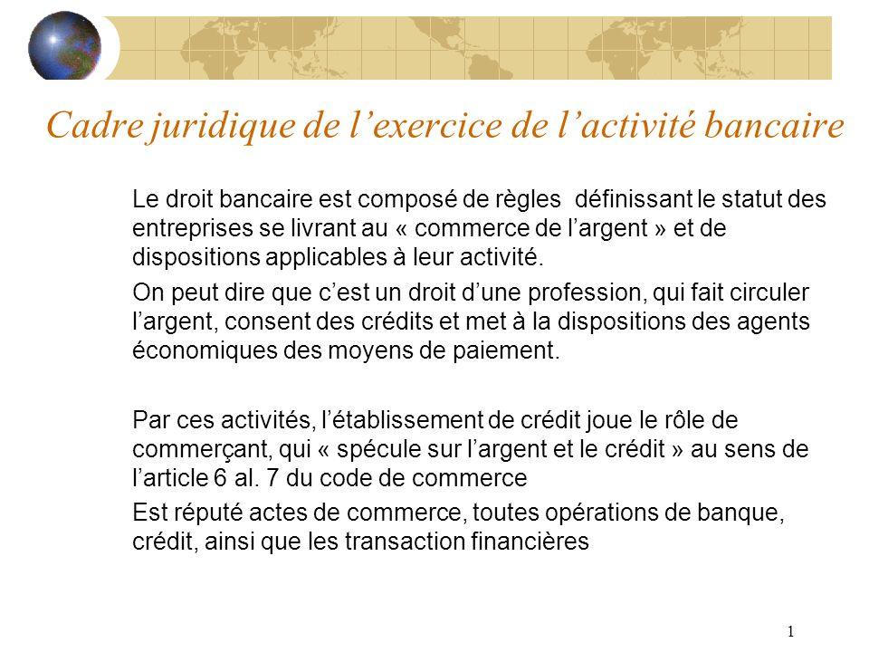 Cadre juridique de l'exercice de l'activité bancaire