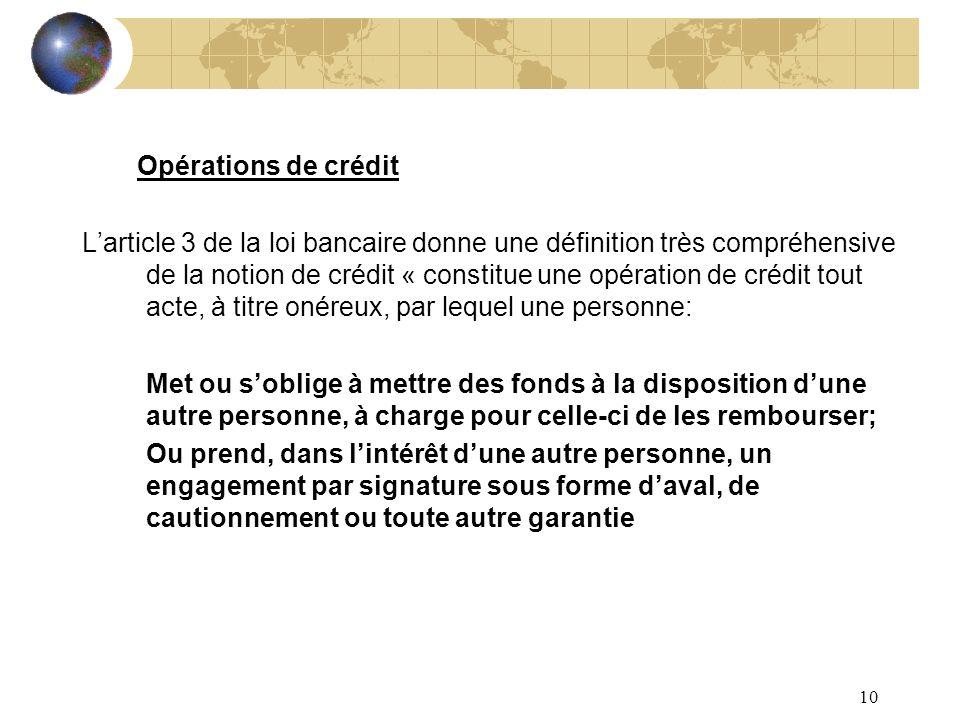 Opérations de crédit
