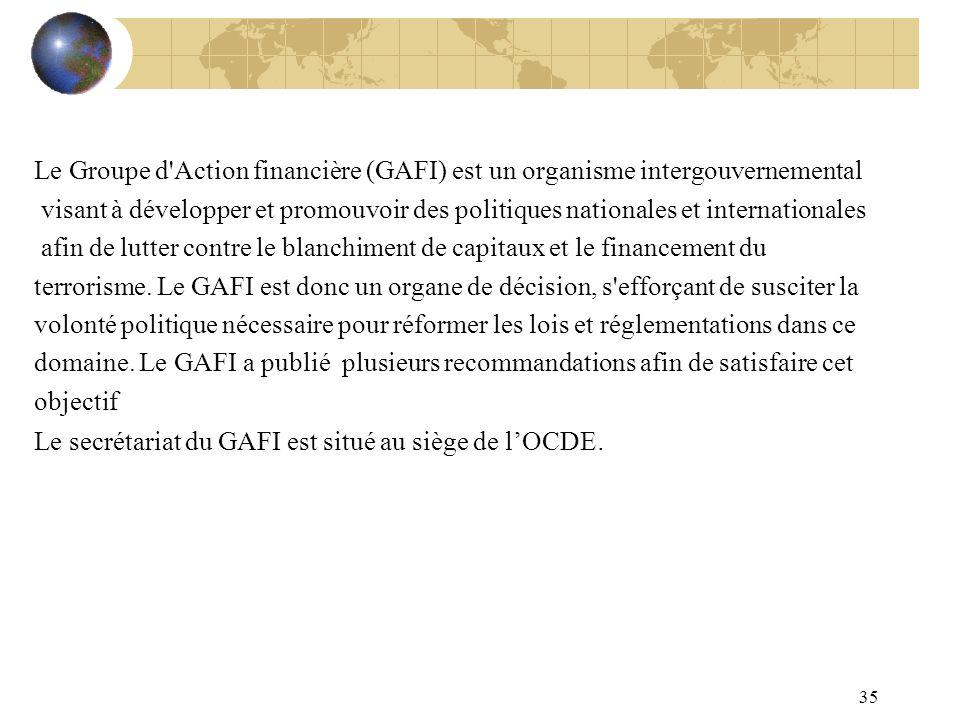 Le Groupe d Action financière (GAFI) est un organisme intergouvernemental