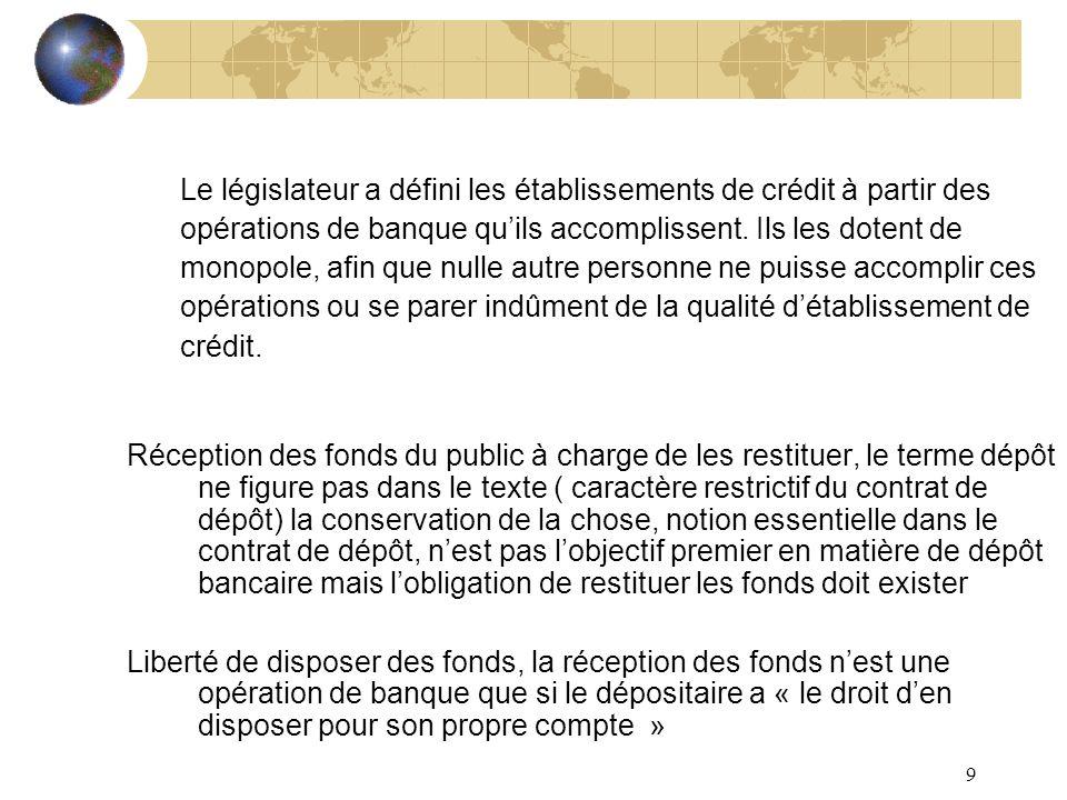 Le législateur a défini les établissements de crédit à partir des