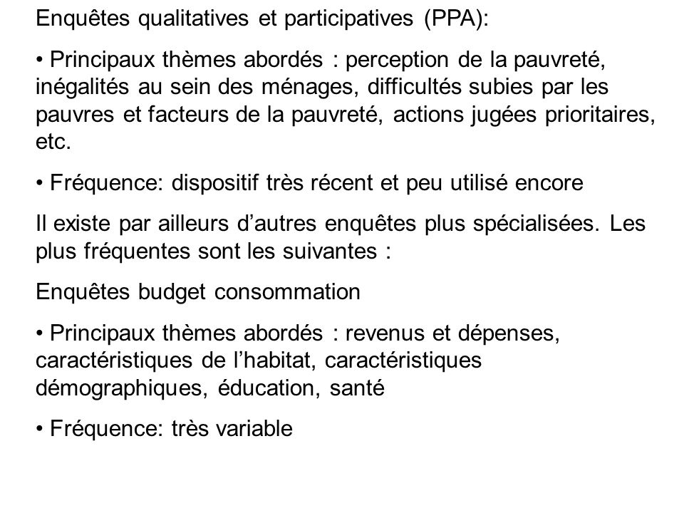 Enquêtes qualitatives et participatives (PPA):