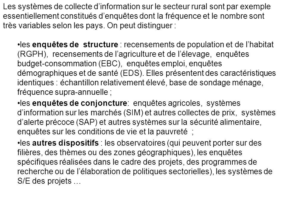 Les systèmes de collecte d'information sur le secteur rural sont par exemple essentiellement constitués d'enquêtes dont la fréquence et le nombre sont très variables selon les pays. On peut distinguer :