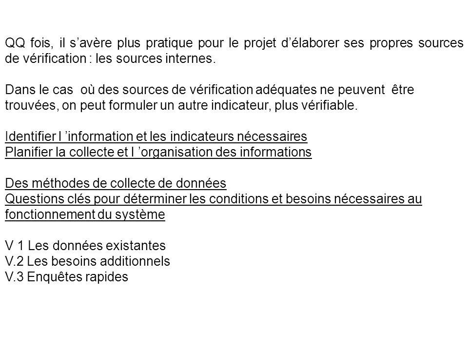 QQ fois, il s'avère plus pratique pour le projet d'élaborer ses propres sources de vérification : les sources internes.
