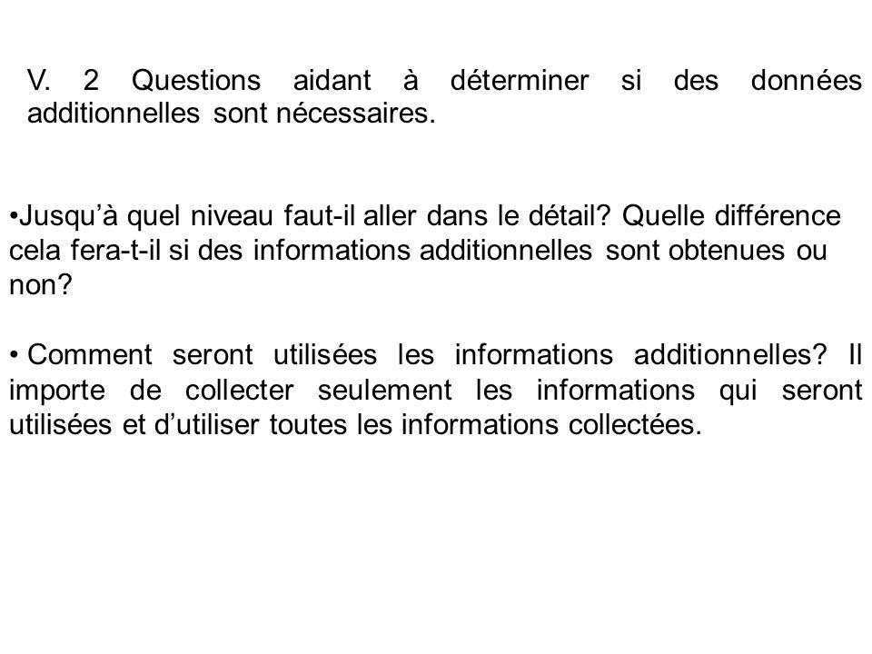 V. 2 Questions aidant à déterminer si des données additionnelles sont nécessaires.