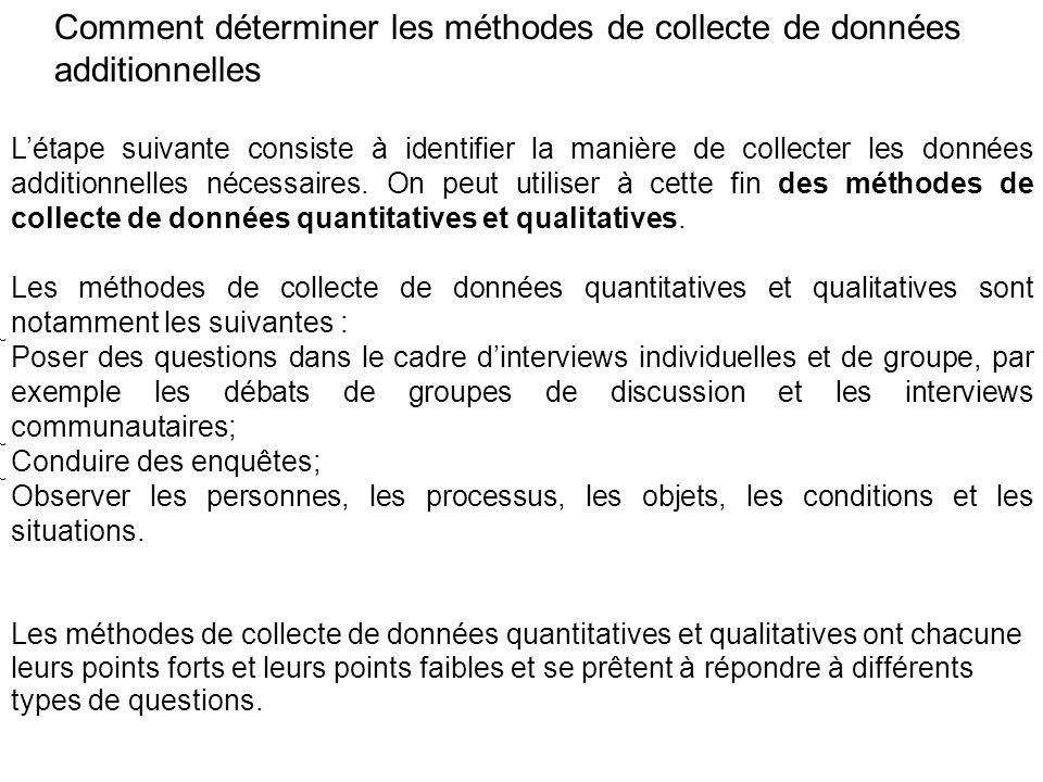 Comment déterminer les méthodes de collecte de données additionnelles