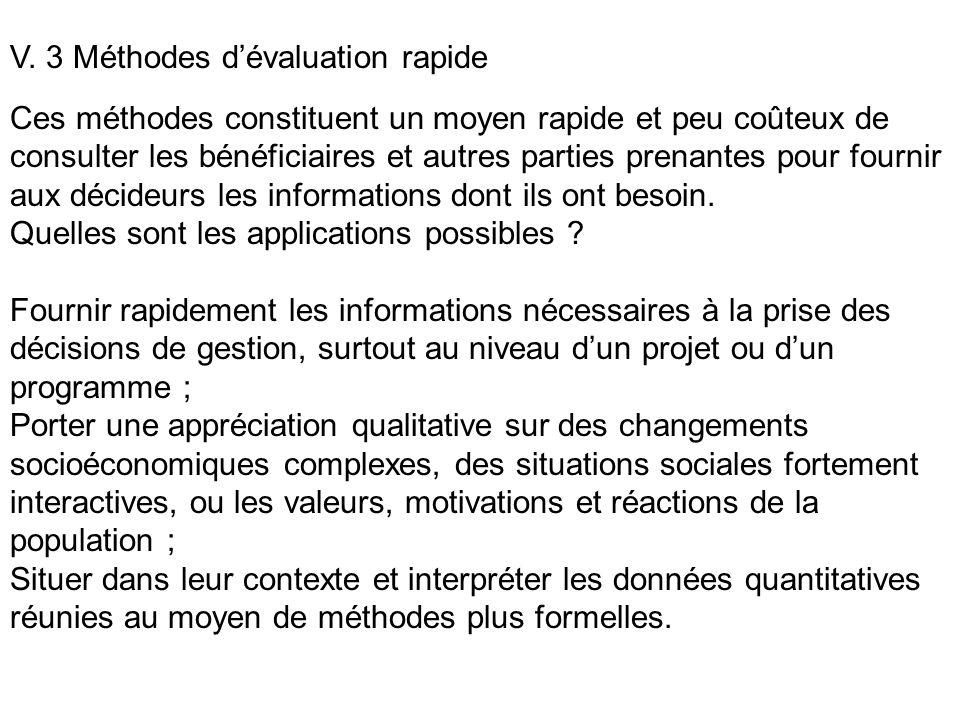 V. 3 Méthodes d'évaluation rapide