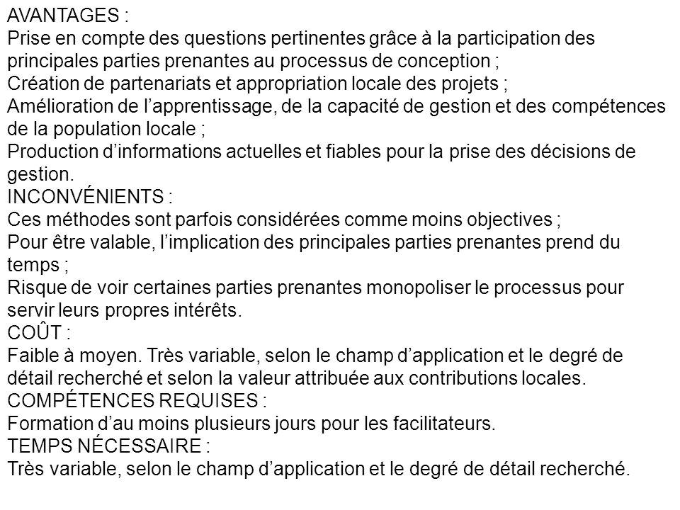 AVANTAGES : Prise en compte des questions pertinentes grâce à la participation des principales parties prenantes au processus de conception ;