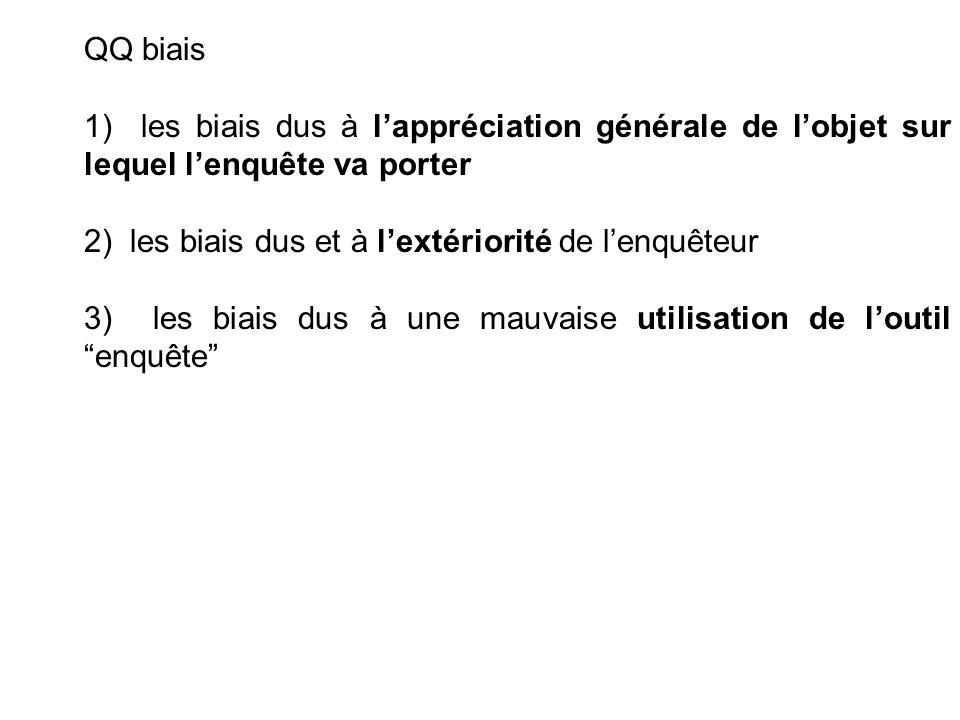 QQ biais 1) les biais dus à l'appréciation générale de l'objet sur lequel l'enquête va porter.