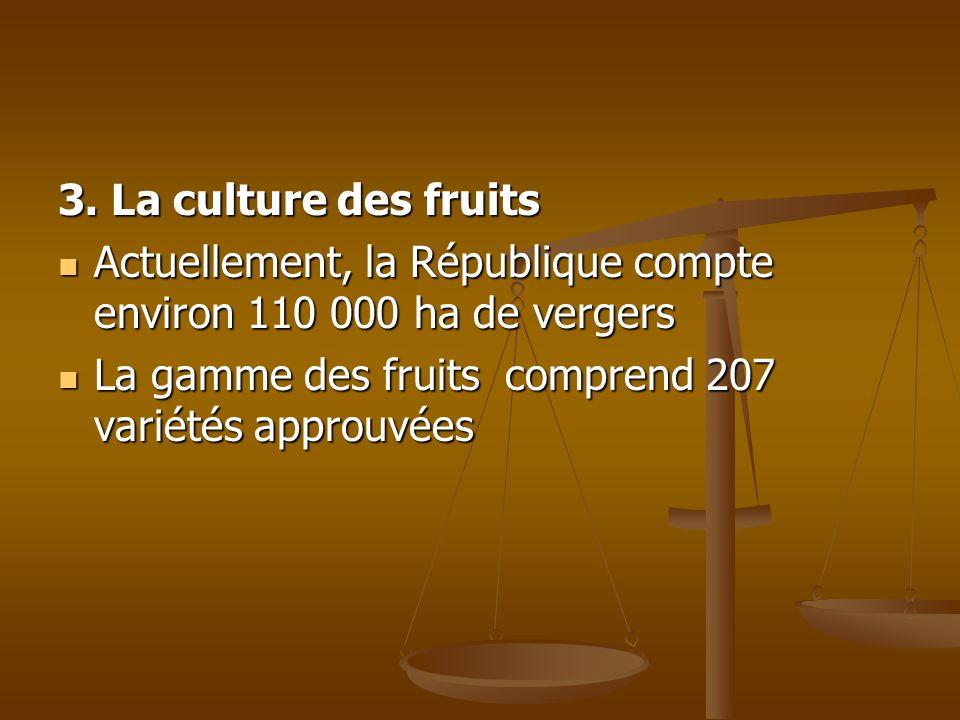 3. La culture des fruits Actuellement, la République compte environ 110 000 ha de vergers.