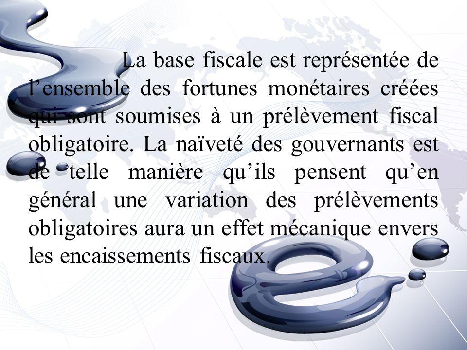 La base fiscale est représentée de l'ensemble des fortunes monétaires créées qui sont soumises à un prélèvement fiscal obligatoire.