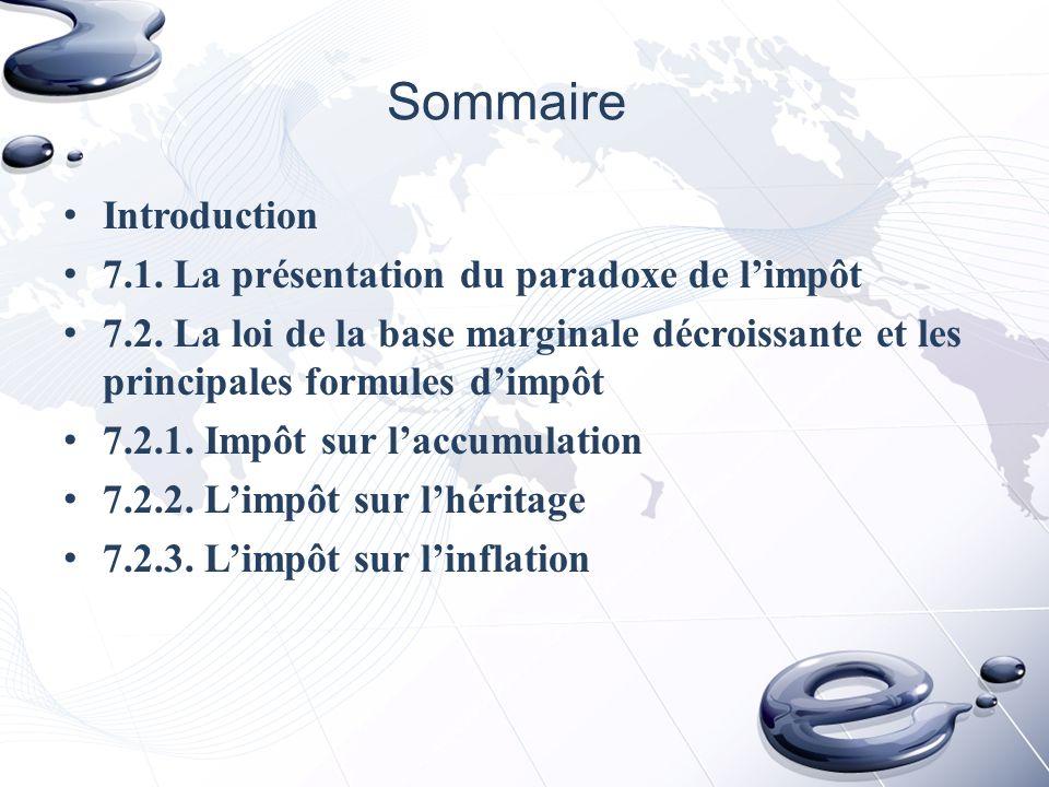 Sommaire Introduction 7.1. La présentation du paradoxe de l'impôt