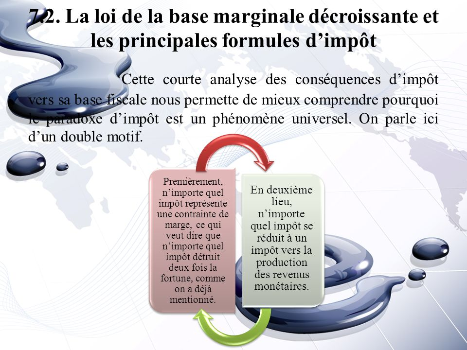 7.2. La loi de la base marginale décroissante et les principales formules d'impôt