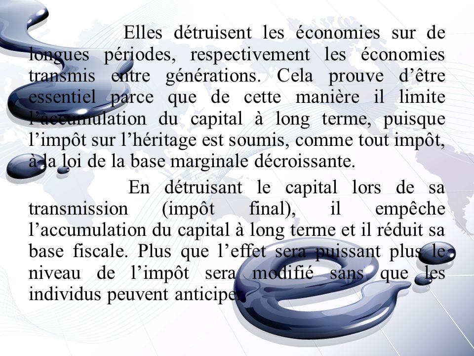 Elles détruisent les économies sur de longues périodes, respectivement les économies transmis entre générations.