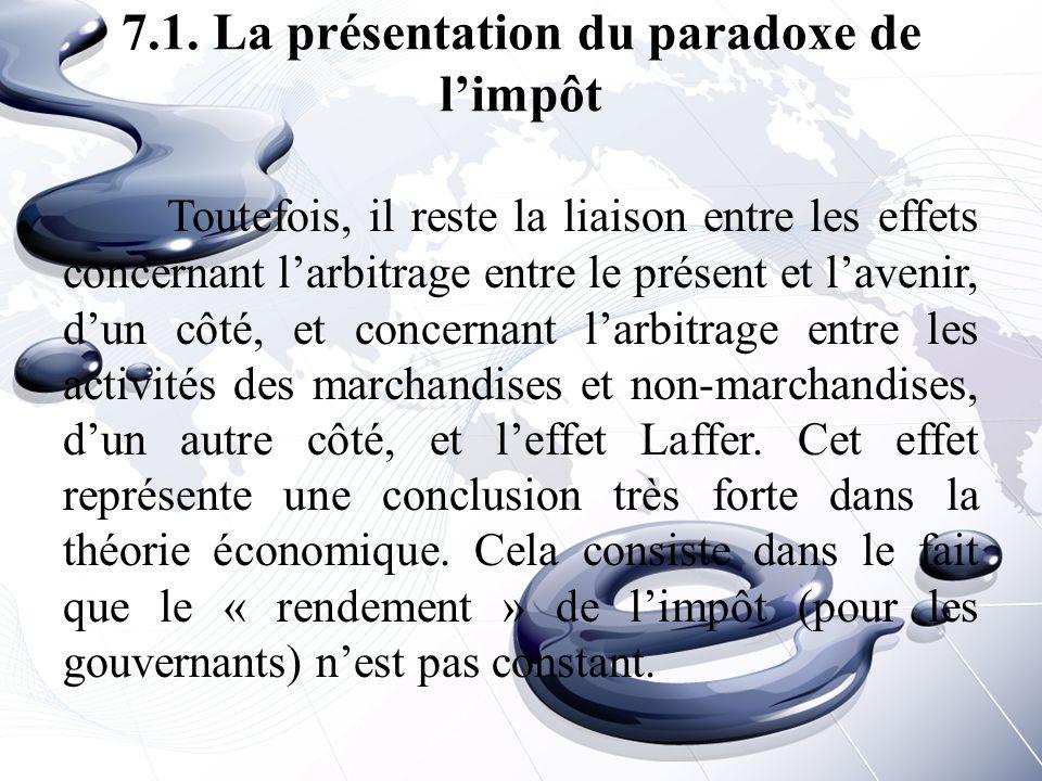 7.1. La présentation du paradoxe de l'impôt