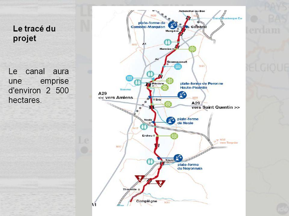 Le tracé du projet Le canal aura une emprise d environ 2 500 hectares.