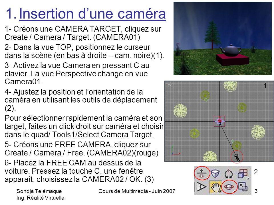 Insertion d'une caméra