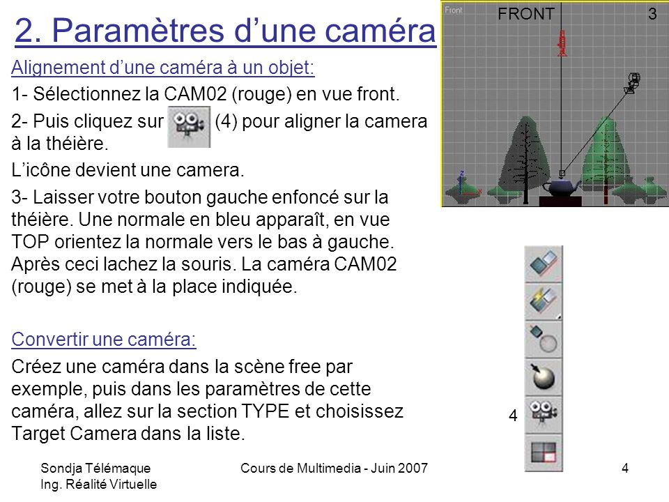 2. Paramètres d'une caméra