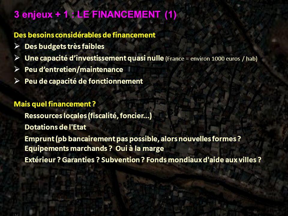 3 enjeux + 1 : LE FINANCEMENT (1)