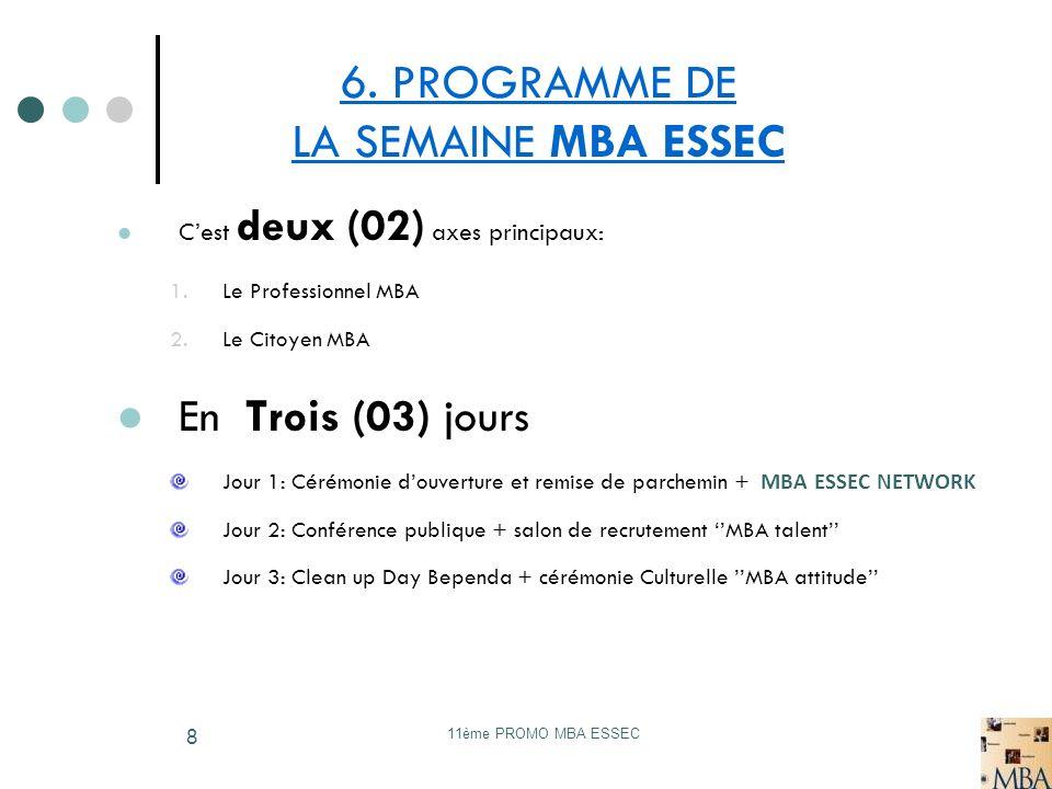 6. PROGRAMME DE LA SEMAINE MBA ESSEC
