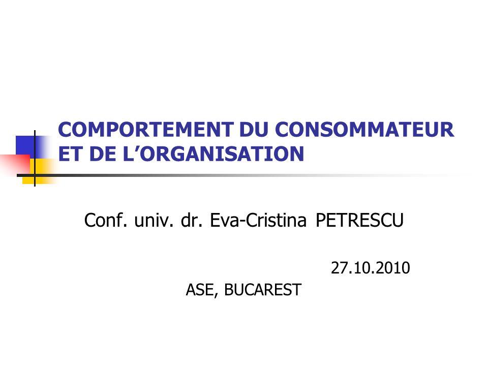 COMPORTEMENT DU CONSOMMATEUR ET DE L'ORGANISATION